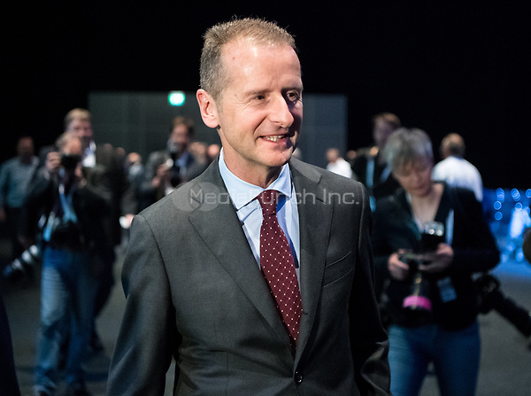 03 May 2018, Germany, Berlin: Herbert Diess, the new CEO of Volkswagen AG, at the Volkswagen AG annual general meeting at the Messegelaende in Berlin. Photo: Bernd von Jutrczenka/dpa /MediaPunch ***FOR USA ONLY***