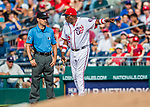 29 June 2017: Washington Nationals Manager Dusty Baker discusses a call with first base umpire David Rackley during a game against the Chicago Cubs at Nationals Park in Washington, DC. The Cubs rallied against the Nationals to win 5-4 and split their 4-game series. Mandatory Credit: Ed Wolfstein Photo *** RAW (NEF) Image File Available ***