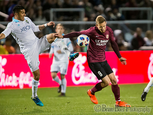 Sac Republic FC forward, Christian Eissele, heads the ball up field as the Sacramento Republic FC host the Seattle Sounders in a friendly match at Papa Murphy Field, Thursday Feb 15, 2018.  <br /> photo by Brian Baer (Brian Baer/Special to The Bee)