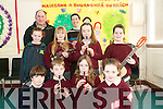 The Kilmoyley School Choir  are improving daily and are now firmly established in the school with students giving up their lunch break to practise their repetoire. .Back L-R Tri?ona Curran, Aoife King, Elizabeth Meehan and Thomas O'Sullivan with Conductor John Breen and Teacher Eili?n Loibhe?ad.Front L-R Cian Doherty, Cillian Monaghan, Aoife Godley and Marie McCarthy