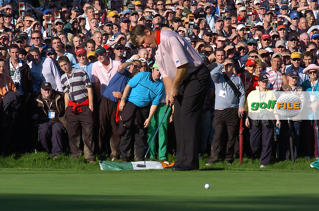 24th September, 2006. European Ryder Cup Team player Lee Westwood on the 16th green during the singles final session of the last day of the 2006 Ryder Cup at the K Club in Straffan, County Kildare in the Republic of Ireland..Photo: Barry Cronin/ Newsfile.