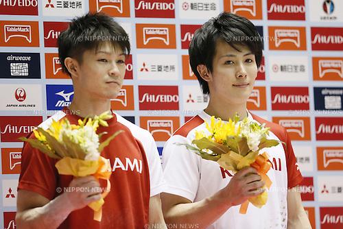 (L-R) Kohei Uchimura, Ryohei Kato, MAY 5, 2016 - Artistic Gymnastics : The 55th NHK Cup men's Individual All-Around, Award Ceremony at Yoyogi 1st Gymnasium, Tokyo, Japan. (Photo by Yusuke Nakanishi/AFLO SPORT)