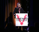 Edie Falco on stage during the Vineyard Theatre Gala 2018 honoring Michael Mayer at the Edison Ballroom on May 14, 2018 in New York City.