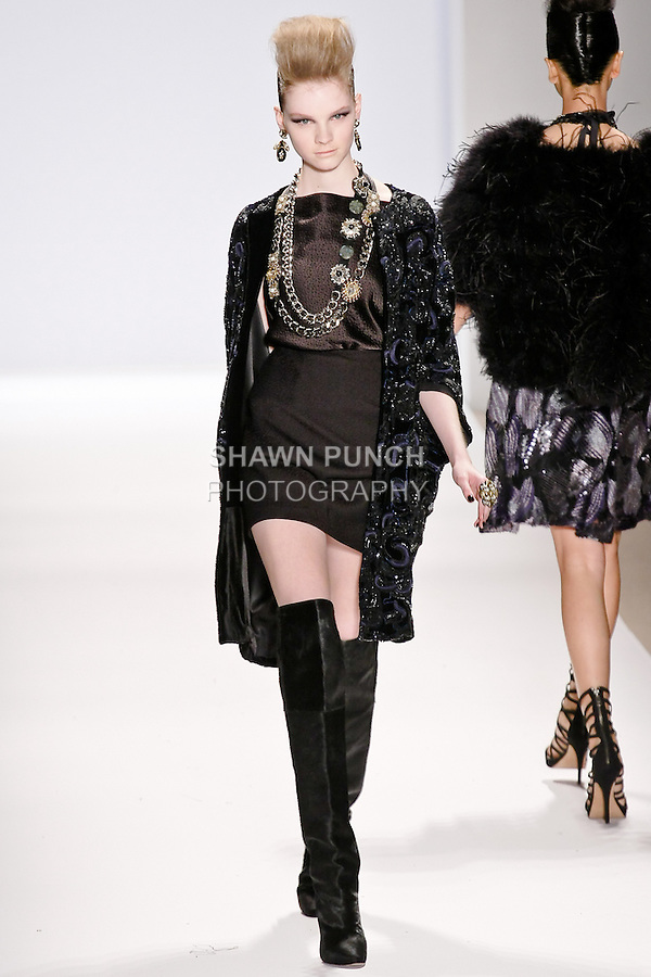 Donna Loos walks the runway in a Naeem Khan Fall 2010 outfit, during Mercedes-Benz Fashion Week Fall 2010.