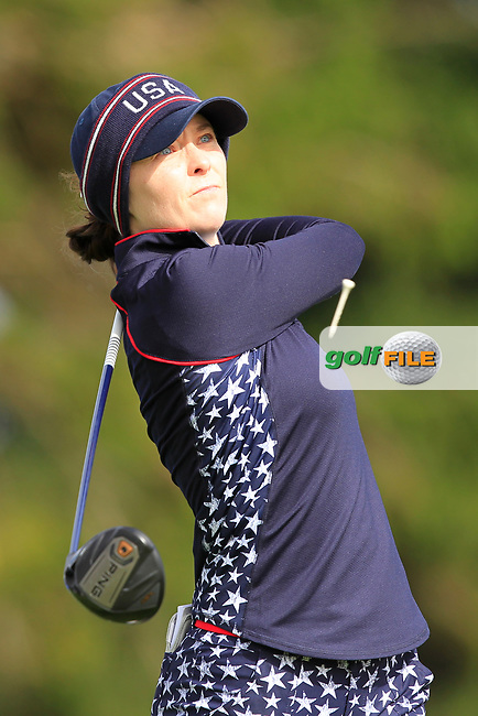 Brittany Altomare (USA) on the 2nd tee during Day 3 Singles at the Solheim Cup 2019, Gleneagles Golf CLub, Auchterarder, Perthshire, Scotland. 15/09/2019.<br /> Picture Thos Caffrey / Golffile.ie<br /> <br /> All photo usage must carry mandatory copyright credit (© Golffile | Thos Caffrey)
