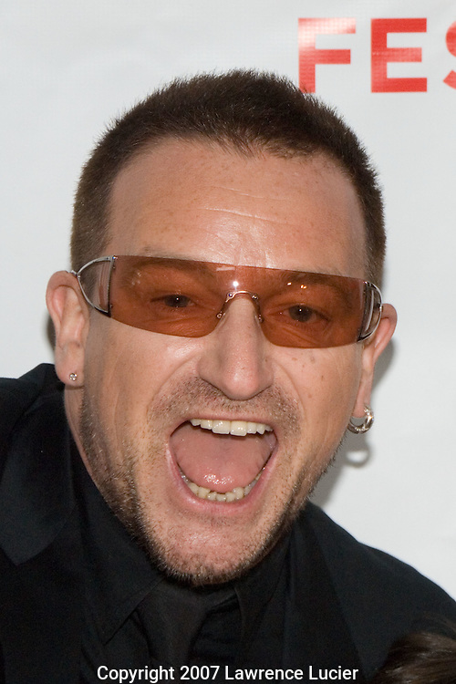 "Recording artist Bono arrives at the Chelsea West Theater April 26, 2007, for the premiere of ""We Are Together"" during the Tribeca Film Festival in New York City. (Pictured : BONO)."