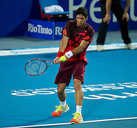 FERNANDO VERDASCO (ESP) against LLEYTON HEWITT (ESP) in the group stage of the Hopman Cup. Spain beat Australia 6-3 3-6 7-5..01/01/2012, 1st January 2012, 01.01.2012..The HOPMAN CUP, Burswood Dome, Perth, Western Australia, Australia.@AMN IMAGES, Frey, Advantage Media Network, 30, Cleveland Street, London, W1T 4JD .Tel - +44 208 947 0100..email - mfrey@advantagemedianet.com..www.amnimages.photoshelter.com.