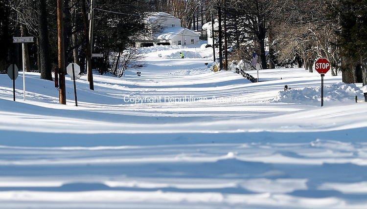 Naugatuck, CT- 09 February 2013-020913CM12-  Roads remained uncleared, like Timothy Road Saturday afternoon in Naugatuck.  Despite the impassable roads, residents were digging themselves out after a blizzard dumped more than two feet of snow in the area.   Christopher Massa Republican-American