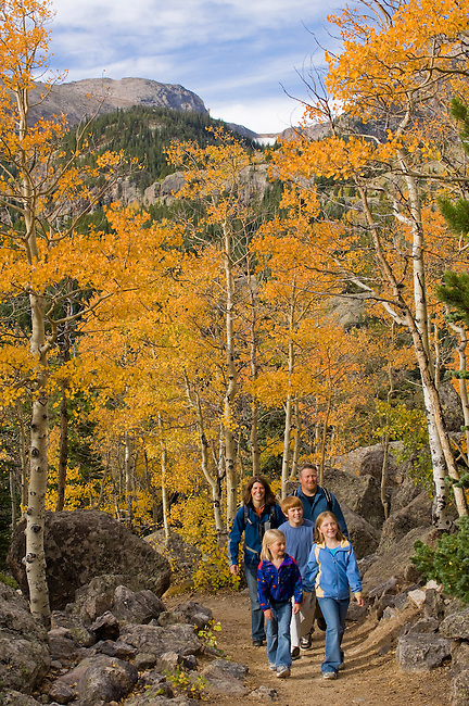 Family hiking on trail through the golden colors of autumn in aspen stands above Bear Lake on a September morning in Rocky Mountain NP, Colorado/ (MR)#86
