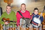Connie O'Carroll, Donie Nolan and Dean Griffin Kilcummin playing in Hartnett's bar during the Padraig O'Keeffe festival in Castleisland on Monday .