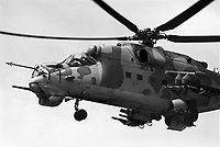 - Hungarian army,  combat helicopters regiment of Veszpren; Soviet-built Mil 24 helicopter (may 1990)<br /> <br /> - esercito Ungherese, reggimento elicotteri da combattimento di Veszpren; elicottero Mil 24 di costruzione sovietica (maggio 1990)