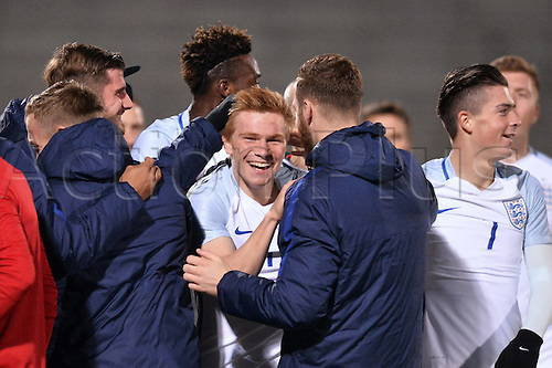 14.11.2016. bondoufle, Paris, France. U-21 International friendly football match, France versus England.  Duncan Watmore (eng) celebrates his opening goal for England in the 9th minute 0-1