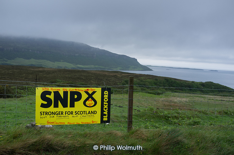 SNP election placard, Stein, Waternish, Skye.
