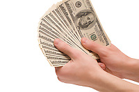 Male hands holding veer money (dollar banknotes) isolated on white background