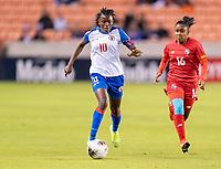 HOUSTON, TX - FEBRUARY 3: Nerilia Mondesir #10 of Haiti dribbles during a game between Panama and Haiti at BBVA Stadium on February 3, 2020 in Houston, Texas.