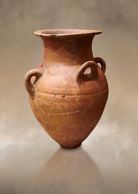 Hittite terra cotta four handled pot. Hittite Empire, Alaca Hoyuk, 1450 - 1200 BC. Alaca Hoyuk. Çorum Archaeological Museum, Corum, Turkey. Against a warm art bacground.