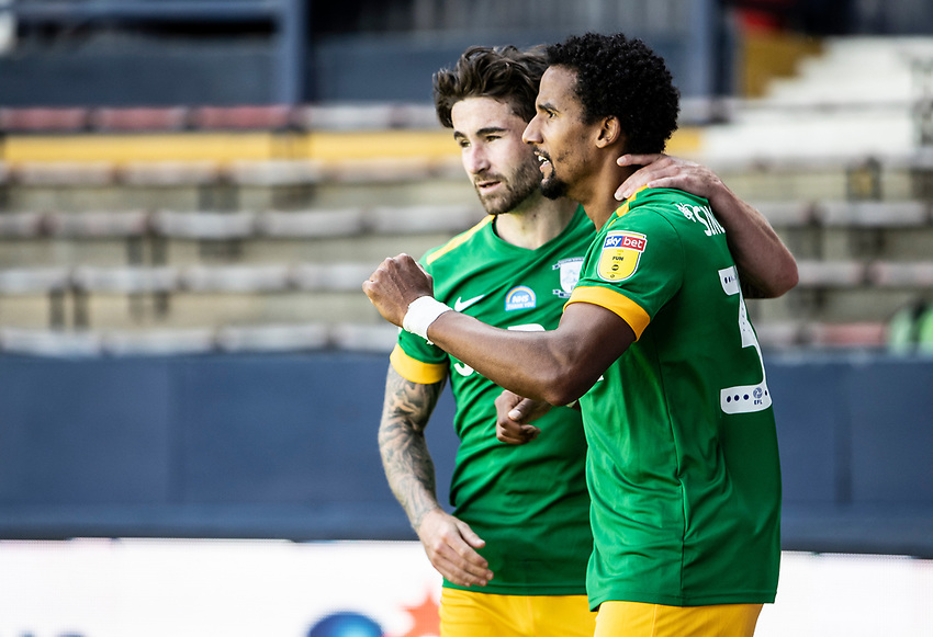 Preston North End's Scott Sinclair (right) celebrates scoring his side's first goal with team mate Sean Maguire<br /> <br /> Photographer Andrew Kearns/CameraSport<br /> <br /> The EFL Sky Bet Championship - Luton Town v Preston North End - Saturday 20th June 2020 - Kenilworth Road - Luton<br /> <br /> World Copyright © 2020 CameraSport. All rights reserved. 43 Linden Ave. Countesthorpe. Leicester. England. LE8 5PG - Tel: +44 (0) 116 277 4147 - admin@camerasport.com - www.camerasport.com