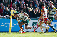 Manu Tuilagi of Leicester Tigers scores his second try of the match. Aviva Premiership match, between Leicester Tigers and Gloucester Rugby on April 2, 2016 at Welford Road in Leicester, England. Photo by: Patrick Khachfe / JMP