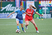 Portland, OR - Saturday June 17, 2017: Sarah Killion, Lindsey Horan during a regular season National Women's Soccer League (NWSL) match between the Portland Thorns FC and Sky Blue FC at Providence Park.