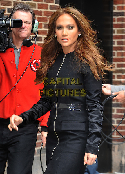 "JENNIFER LOPEZ.Jennifer Lopez appears on ""Late Show With David Letterman"" at the Ed Sullivan Theater, New York, NY, USA..April 19th, 2010.length j-lo black coat jacket zip zipper clear plastic belt half.CAP/ADM/BM.©Bill Menzel/AdMedia/Capital Pictures."