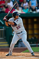 Roberto Lopez (20) of the Arkansas Travelers at bat during a game against the Springfield Cardinals at Hammons Field on May 5, 2012 in Springfield, Missouri. (David Welker/Four Seam Images)