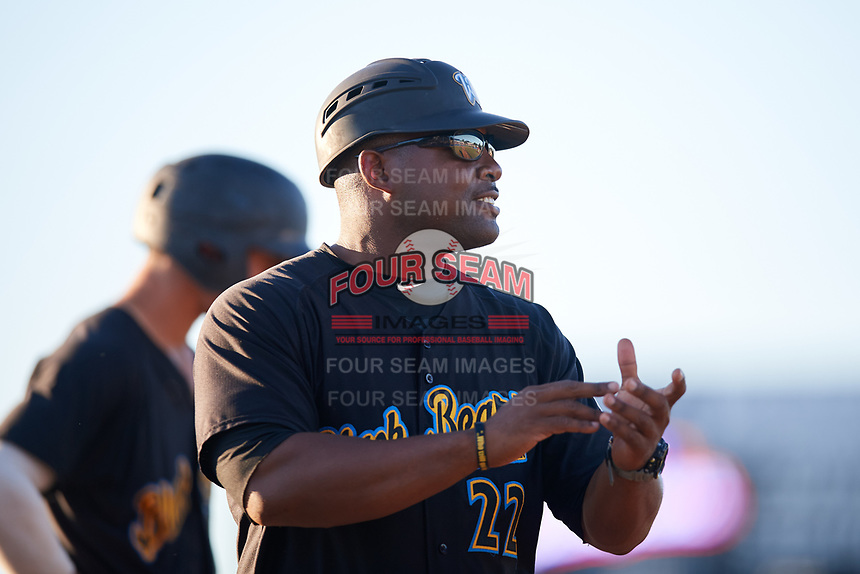 West Virginia Black Bears manager Kieran Mattison (22) during a game against the Batavia Muckdogs on July 3, 2018 at Dwyer Stadium in Batavia, New York.  Batavia defeated West Virginia 5-4.  (Mike Janes/Four Seam Images)