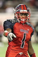 Miramar Patriots wide receiver Malcolm Lewis #1 checks with the official during the second quarter of the Florida High School Athletic Association 8A Championship Game at Florida's Citrus Bowl on December 17, 2011 in Orlando, Florida.  Plant defeated Miramar 31-20.  (Mike Janes/Four Seam Images via AP Images)