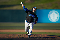 Barton Bulldogs relief pitcher Donovan Waitman (43) in action against the Queens Royals at Intimidators Stadium on March 19, 2019 in Kannapolis, North Carolina. The Royals defeated the Bulldogs 6-5. (Brian Westerholt/Four Seam Images)