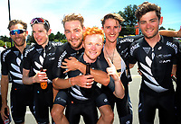The NZ national team, from left: Taylor Gunman, Michael Torckler, Hayden McCormick, Luke Mudgway, James Oram and Joel Yates. Stage five of the 2018 NZ Cycle Classic UCI Oceania Tour (Masterton criterium) in Masterton, New Zealand on Friday, 21 January 2018. Photo: Dave Lintott / lintottphoto.co.nz