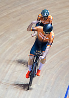 26th January 2020; National Cycling Centre, Manchester, Lancashire, England; HSBC British Cycling Track Championships; Men's team pursuit AeroLab Ward WheelZ A, Tom Ward signals that they have just secured the bronze medal