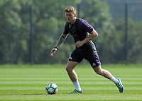 Pictured: Alfie Mawson runs with the ball Wednesday 14 September 2016<br /> Re: Swansea City FC training at Fairwood, Wales, UK