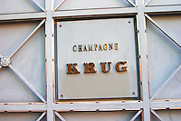 A sign at the entrance to Champagne Krug on the closed iron gate, Reims, Champagne, Marne, Ardennes, France