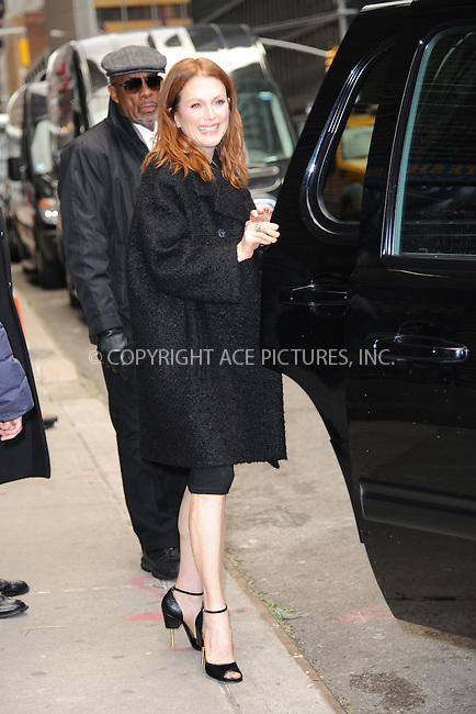WWW.ACEPIXS.COM . . . . . <br /> January 7, 2014...New York City<br /> <br /> Julianne Moore arrives to tape an appearance on the Late Show with David Letterman on January 7, 2015 in New York City.<br /> <br /> Please byline: Kristin Callahan...ACEPIXS.COM<br /> Tel: (212) 243 8787 or (646) 769 0430<br /> e-mail: info@acepixs.com<br /> web: http://www.acepixs.com