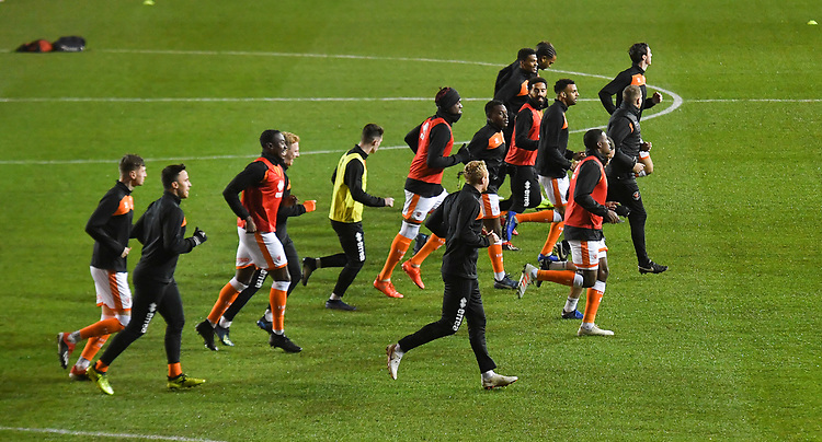 Blackpool players warm up<br /> <br /> Photographer Dave Howarth/CameraSport<br /> <br /> The Emirates FA Cup Second Round Replay - Blackpool v Solihull Moors - Tuesday 18th December 2018 - Bloomfield Road - Blackpool<br />  <br /> World Copyright © 2018 CameraSport. All rights reserved. 43 Linden Ave. Countesthorpe. Leicester. England. LE8 5PG - Tel: +44 (0) 116 277 4147 - admin@camerasport.com - www.camerasport.com