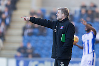 Steven Pressley Manager of Carlisle United provides instruction to his team during Colchester United vs Carlisle United, Sky Bet EFL League 2 Football at the JobServe Community Stadium on 23rd February 2019