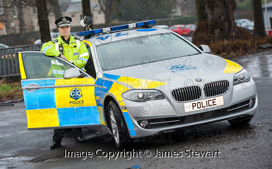 Police Scotland Chief Constable, Steve House, announces plans for the new Trunk Roads Patrol Group as he unveils the first motorway patrol vehicle to be badged with the new Police Scotland logo.