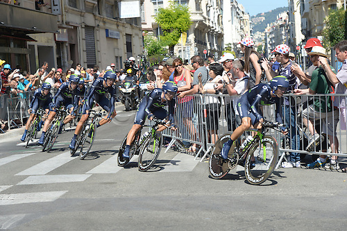 02.07.2013 Nice, France. Tour de France, Team Time Trial on stage 4 of the Tour De France from Nice. Movistar 2013, Nice