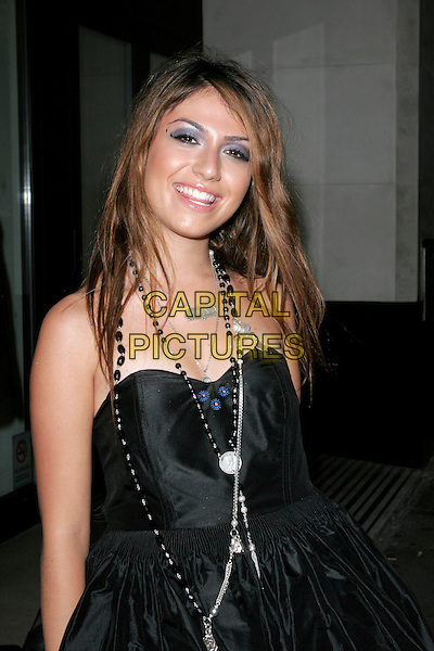 GABRIELLA CILMI.ITV2 Autumn Launch Party, The Roof Gardens, London, England..August 19th, 2008.half length black strapless dress  necklaces.CAP/AH.©Adam Houghton/Capital Pictures.