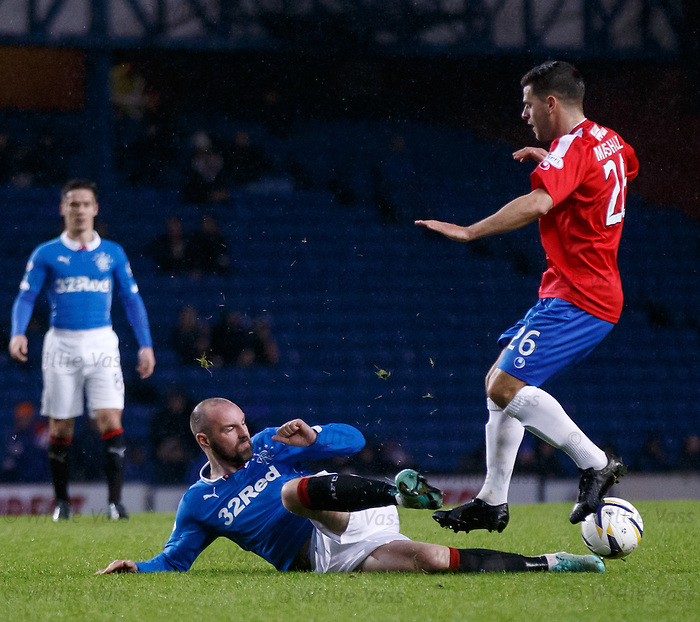 Kris Boyd slides in to tackle Colin Marshall