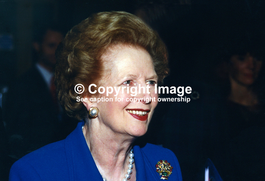 Baroness Thatcher, former Prime Minister, Conservative Party, UK, 19961046MT.<br /> <br /> Copyright Image from Victor Patterson, 54 Dorchester Park, Belfast, UK, BT9 6RJ<br /> <br /> t1: +44 28 9066 1296 (from Rep of Ireland 048 9066 1296)<br /> t2: +44 28 9002 2446 (from Rep of Ireland 048 9002 2446)<br /> m: +44 7802 353836<br /> <br /> victorpatterson@me.com<br /> www.victorpatterson.com<br /> <br /> Please see my Terms and Conditions of Use at victorpatterson.com . It is IMPORTANT that you familiarise yourself with them.<br /> <br /> Images used on the Internet incur an additional cost and must be visibly watermarked i.e. &copy;Victor Patterson within the body of the image and copyright metadata must not be deleted. Images used on the Internet have a size restriction of 4kbs and are chargeable at rates available at victorpatterson.com.<br /> <br /> This image is only available for the use of the download recipient i.e. television station, newspaper, magazine, book publisher, etc, and must not be passed on to any third party. It is also downloaded on condition that each and every usage is notified within 7 days to victorpatterson@me.com<br /> <br /> The right of Victor Patterson to be identified as the author is asserted in accordance with The Copyright Designs And Patents Act (1988). All moral rights are asserted.