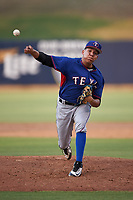 AZL Rangers relief pitcher Rosmer Inojosa (44) during an Arizona League game against the AZL Brewers Blue on July 11, 2019 at American Family Fields of Phoenix in Phoenix, Arizona. The AZL Rangers defeated the AZL Brewers Blue 5-2. (Zachary Lucy/Four Seam Images)