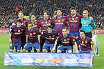 Football Season 2009-2010. Barcelona's team group. Diego Milito, Pedro, Maxwell, Sergio Busquets, Gerard Pique, Victor Valdes, Lionel Messi, Dani Alves, Bojan Krkic, Andres Iniesta, Xavi Hernandez during their spanish liga soccer match between Barcelona vs Valencia at Camp Nou  stadium in Barcelona. 14 March 2010.