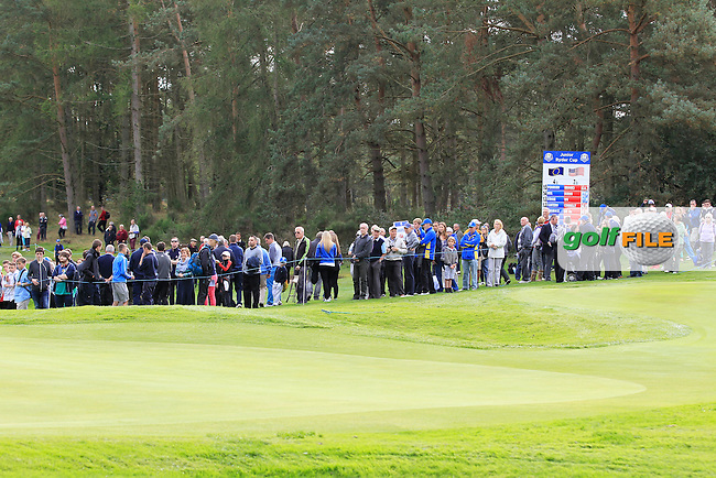 The crowd on the 15th during Day 2 Singles for the Junior Ryder Cup 2014 at Blairgowrie Golf Club on Tuesday 23rd September 2014.<br /> Picture:  Thos Caffrey / www.golffile.ie