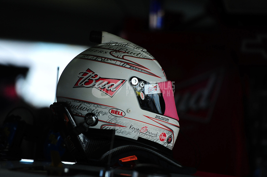 Nov. 18, 2011; Homestead, FL, USA; The helmet of NASCAR Sprint Cup Series driver Kevin Harvick during practice for the Ford 400 at Homestead Miami Speedway. Mandatory Credit: Mark J. Rebilas-