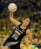 10.07.2011 Silver Ferns Jolien Henry in action during the final netball match between the Silver Ferns v Australia at the Mission Foods World Netball Championship 2011 held at the Singapore Indoor Stadium in Singapore . Mandatory Photo Credit ©Michael Bradley.