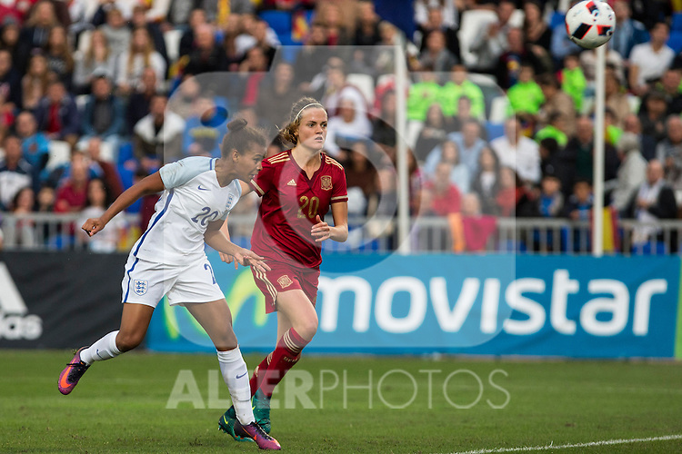 England's Nikita Parris Spain's Irene Paredes during the frendly match between woman teams of  Spain and England at Fernando Escartin Stadium in Guadalajara, Spain. October 25, 2016. (ALTERPHOTOS/Rodrigo Jimenez)
