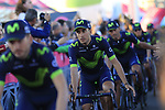 Movistar Team at the Team Presentation in Alghero, Sardinia for the 100th edition of the Giro d'Italia 2017, Sardinia, Italy. 4th May 2017.<br /> Picture: Eoin Clarke | Cyclefile<br /> <br /> <br /> All photos usage must carry mandatory copyright credit (&copy; Cyclefile | Eoin Clarke)