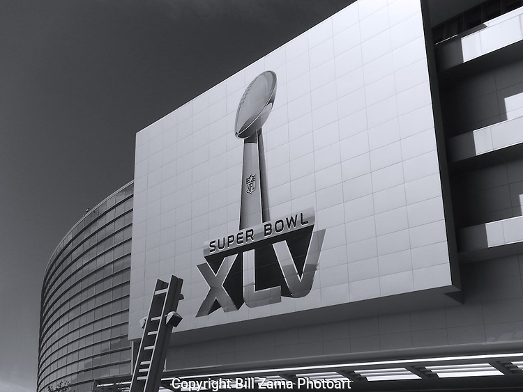 Super Bowl sign on Cowboy's Stadium in Arlington TX. Photographed by Peter Zama, edited by Bill Zama