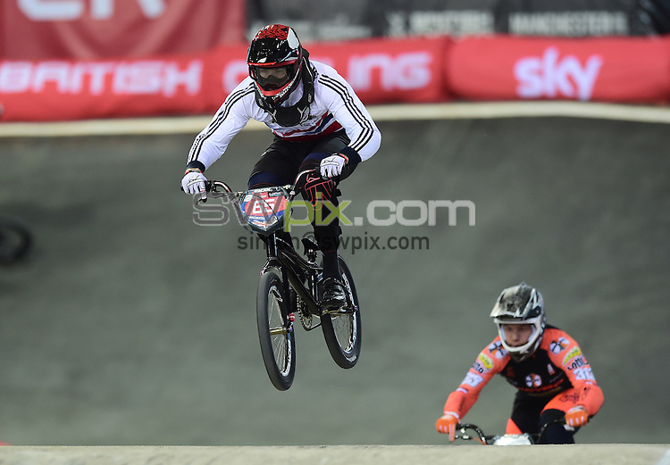 Picture by Alex Broadway/SWpix.com - Cycling - 2015 UCI BMX Supercross World Cup - National BMX Centre, Manchester, England - 19/04/14 - Liam Phillips of Great Britain in action during the Elite Men's 1/8 Finals.