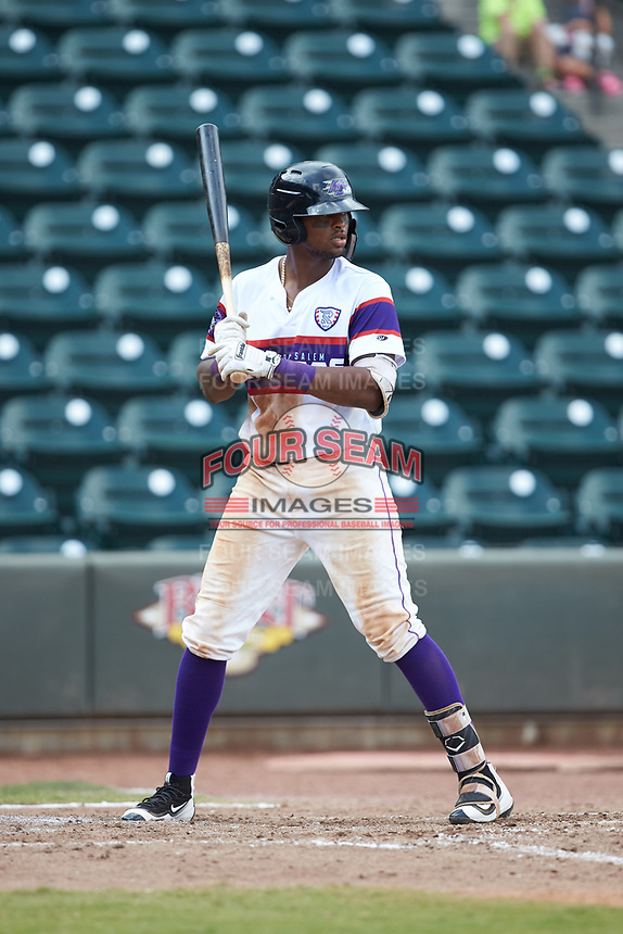 Ti'Quan Forbes (10) of the Winston-Salem Rayados at bat against the Potomac Nationals at BB&T Ballpark on August 12, 2018 in Winston-Salem, North Carolina. The Rayados defeated the Nationals 6-3. (Brian Westerholt/Four Seam Images)